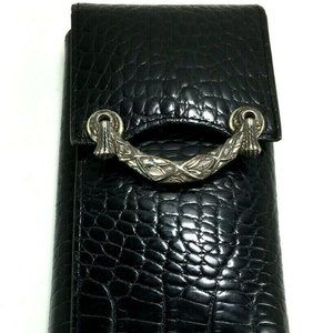 Brighton Vtg Black Leather Reptile Print Wallet